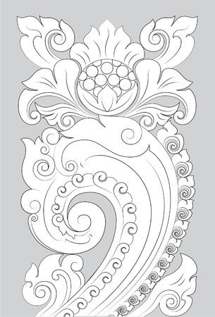 Motif Majapahit line art illustration on gray background.