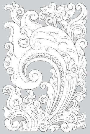 Motif Pajajaran line art illustration on gray background.  イラスト・ベクター素材
