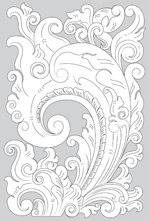 Motif Pajajaran line art illustration on gray background. Illustration