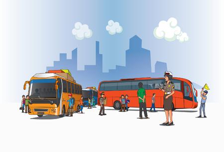 Ein Blick auf den Busbahnhof auf indonesischem Gebiet.