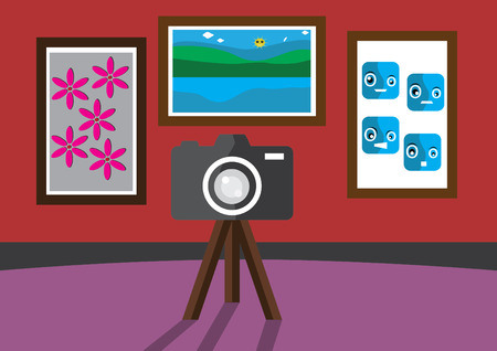 This is a vector illustration of a room photo