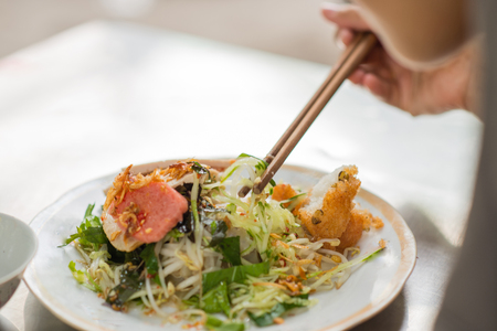 bean sprouts: Vietnamese rice noodle roll- called Banh cuon Stock Photo