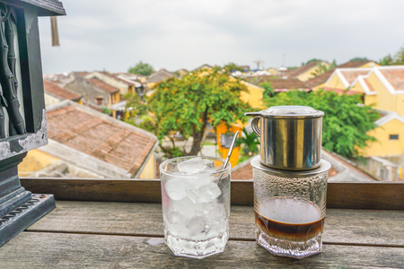 Traditional Vietnam coffee on the top of the coffee sh