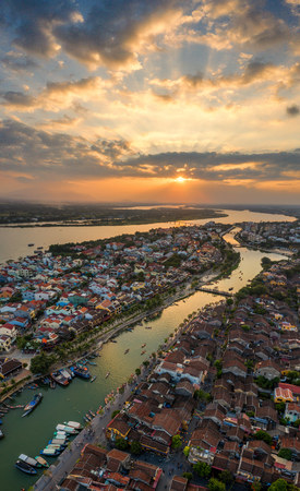 Vertical panorama photo of Amazing sunset at Hoi An ancient town, Vietnam