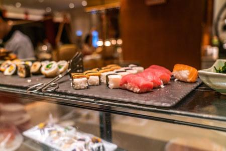 Japanese food: Sushi, Nigiri and Futomaki in the buffet