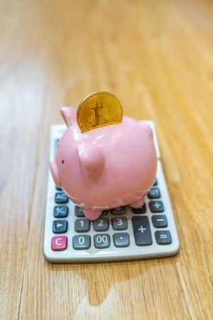 Golden bitcoin on porcelain piggy bank and calculator Zdjęcie Seryjne