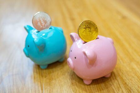 Silver and gold bitcoin saving on piggy bank