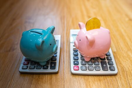 Cryptocurrency saving concept with piggy bank and calculator Zdjęcie Seryjne