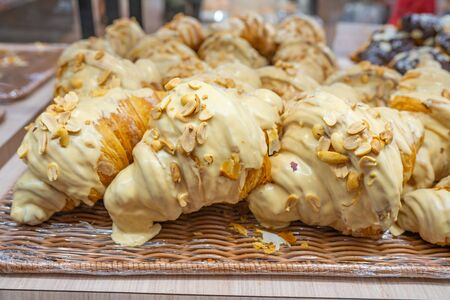 Delicious cream cheese croissants for sale at pastry shop 스톡 콘텐츠