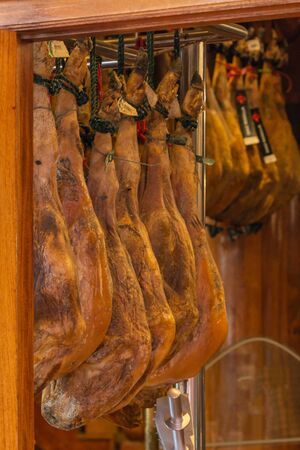 Famous Spanish cuisine jamon cured meat for sale at store