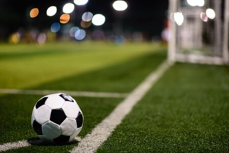 Typical soccer ball on football field next to the goal Banco de Imagens - 131962197