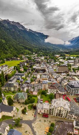 Impressive aerial landscape of town and village in Chamonix valley