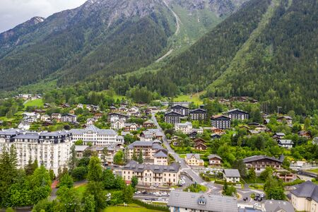 Amazing aerial scenery of towns and villages in Chamonix valley