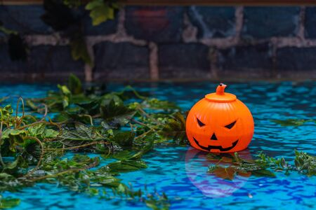 Plastic Halloween jack o lantern with spooky smile on water