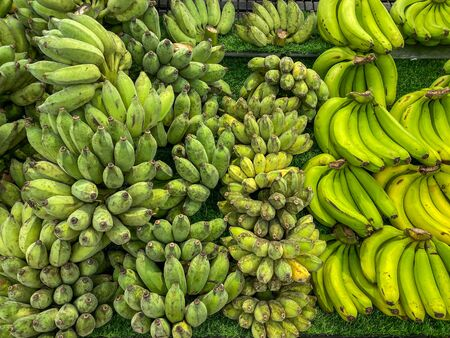 Various kinds of banana bunches for sale at fruit store