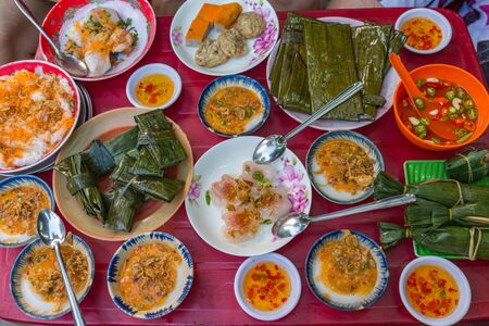 Delicious Vietnamese Hue style cuisine, steamed rice cake and minced shrimp