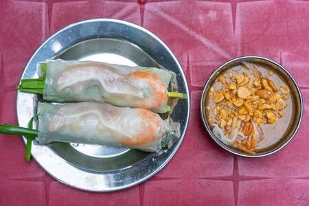 Vietnamese rice paper shrimp rolls and peanut sauce- Goi Cuon
