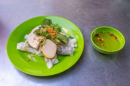 Popular Vietnamese street food- steamed rice rolls, Banh Cuon