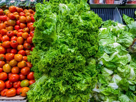 Pile of fresh lettuce and tomato for sale at groceries store