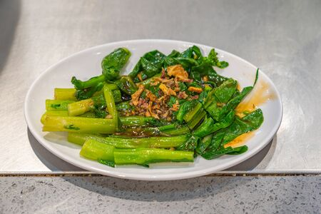 Chinese recipe- stir fried choy sum vegetable with oyster oil