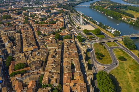 Aerial townscape scenery of Avignon historical city of France Stock Photo