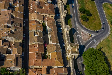 Aerial townscape view of Avignon city with renaissance architecture