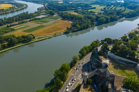 Aerial view of beautiful Rhone river in Avignon city, France Stock Photo