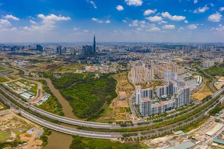 Aerial view of suburb area in Ho Chi Minh city