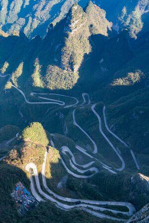 Aerial view of 99 Bends Road in Zhangjia Jie, China 版權商用圖片