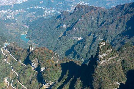 Aerial view of mountainous landscape in Zhangjia Jie, China
