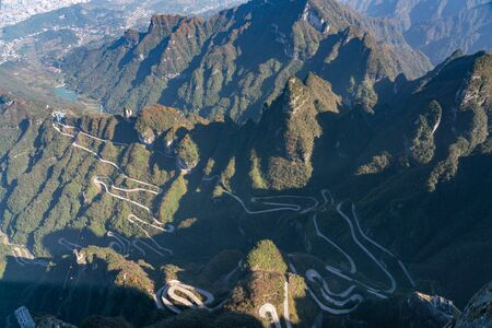 Spectacular aerial landscape of 99 Bend Road at Tianmen Mountain