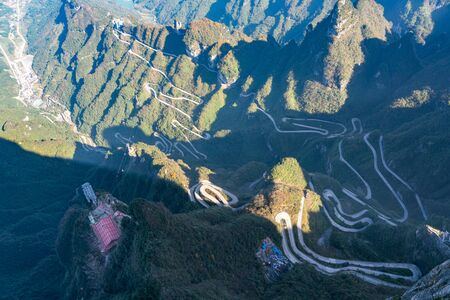 Aerial view of 99 bend road in Tianmen Mountain, China