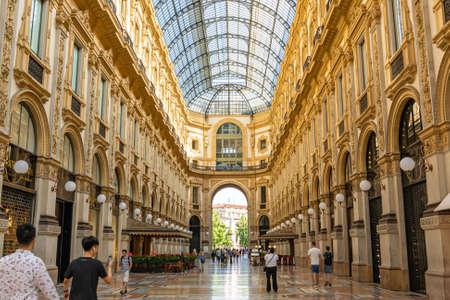 MILAN, ITALY - JUNE 23, 2019: Beautiful architecture inside Galleria Vittorio Emanuele II shopping mall