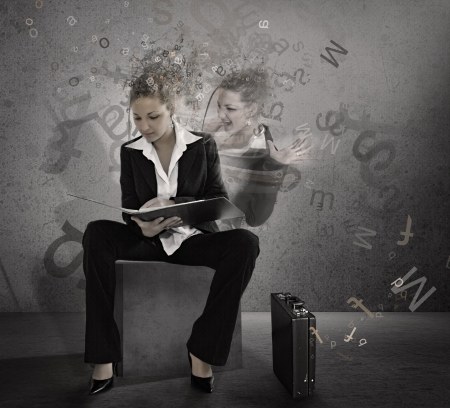 business case: Trainee woman. Student. Poster. Stock Photo