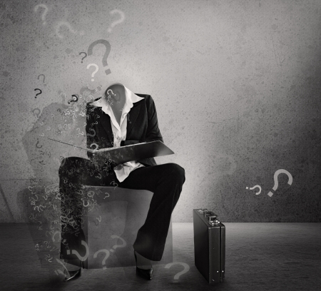 Question mark. Hesitation poster.Dilemma.