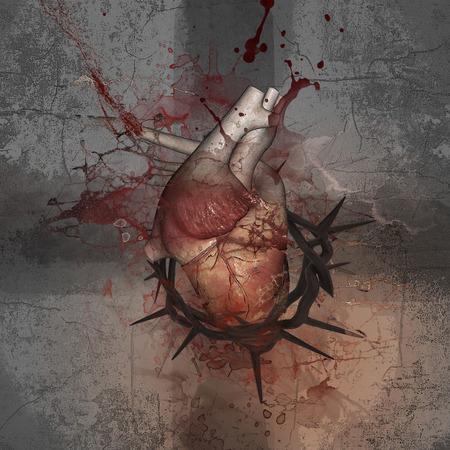 corona de espinas: Crucifijo. Corazón con una corona de espinas. Empujar los límites.