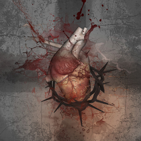 limitations: Crucifix. Heart with a crown of thorns. Push the limits. Stock Photo