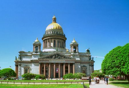 Isaacs Cathedral in Saint Petersburg in front