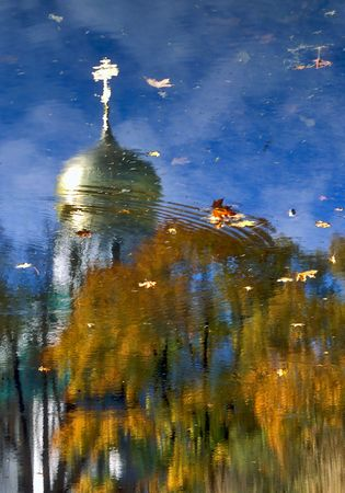 The reflection of cupola and trees