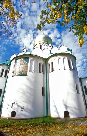 View of russian cathedral from below on background of picturesque sky