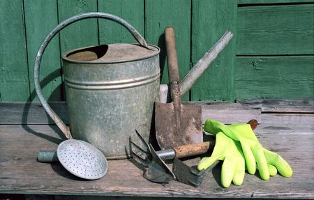 horticultural: Horticultural sundry on wooden background Stock Photo