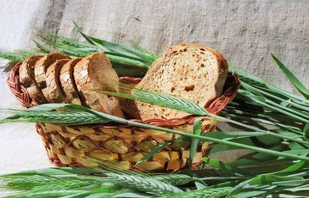 Spicas et pain de seigle sur toile