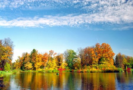 At the lake in nice autumn day Stock Photo