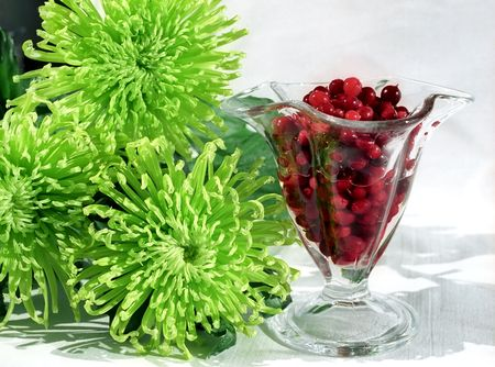 Red berry in glass and green chrysanthemums