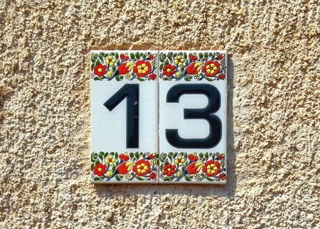 Ceramic number of Hydra house Stock Photo