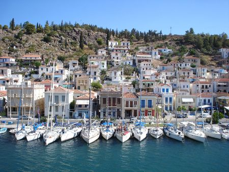 Yachts at Poros quay in summer                                Stock Photo