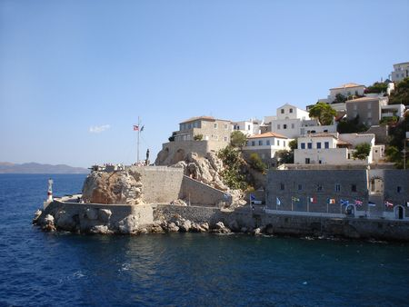 Hydra bastions with cannons in harbor                                Stock Photo