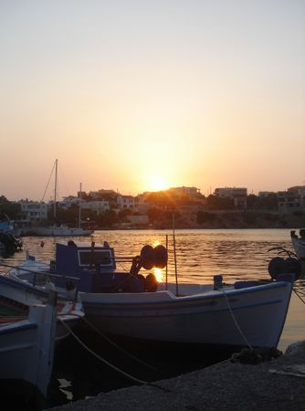 Sunset in Souvala port of Aegina island                               Stock Photo
