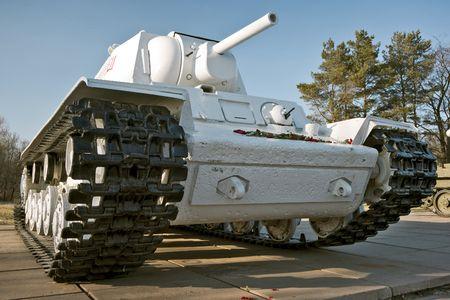 crawler: Big white crawler tank of Second World War period