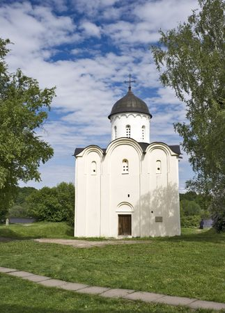 White stone russian ancient orthodox church photo